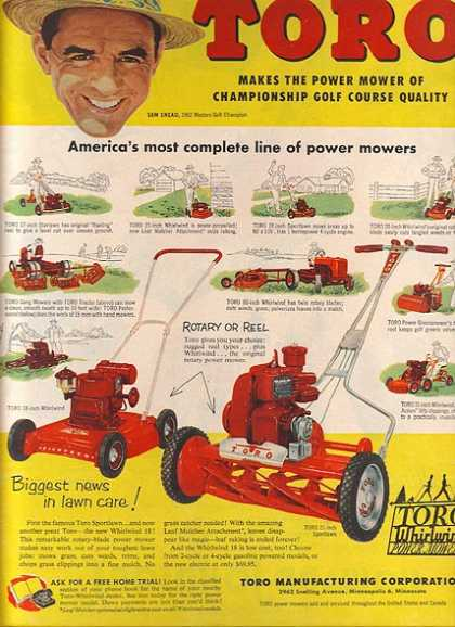 Toro's America's most complete line of power mowers – Makes the Power Mower of Championship Golf Course Quality (1953)