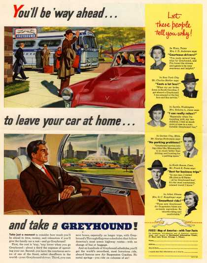 Greyhound – You'll be 'way ahead...to leave your car at home...and take a Greyhound (1954)