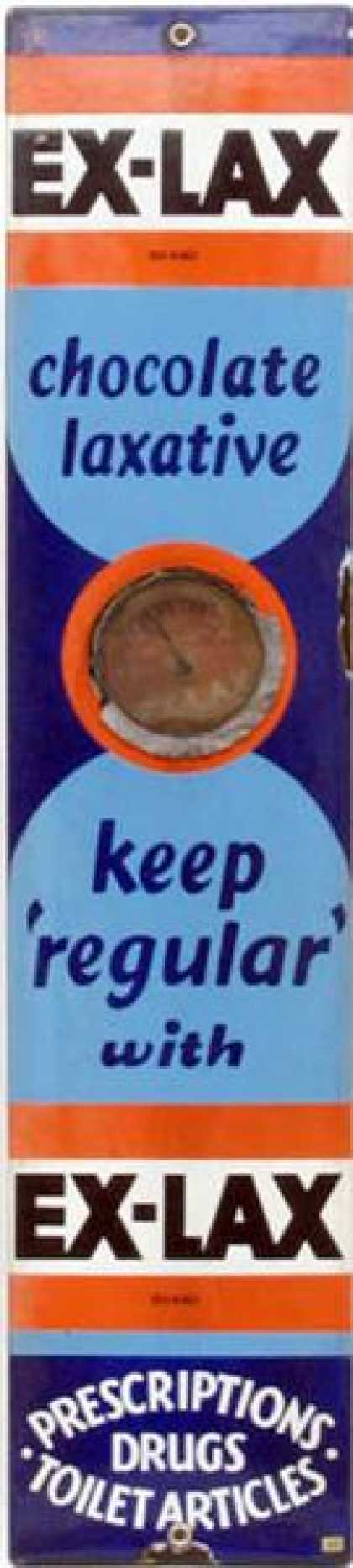 Exlax Laxative Chocolate Thermometer Sign