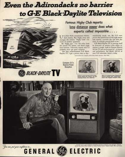 General Electric Company's Black Daylight Television – Even the Adirondacks no barrier to G-E Black-Daylite Television (1952)