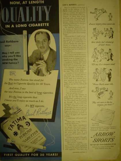 Fatima Turkish Cigarettes. Basil Rathbone. First quality for 30 years (1949)