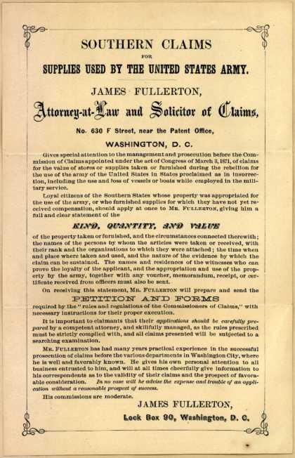 James Fullerton – Southern Claims for Supplies Used by the US Army