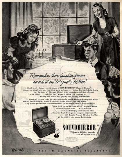 """Brush Development Company's Soundmirror – Remember their laughter forever...record it on """"Magnetic Ribbon"""" (1947)"""