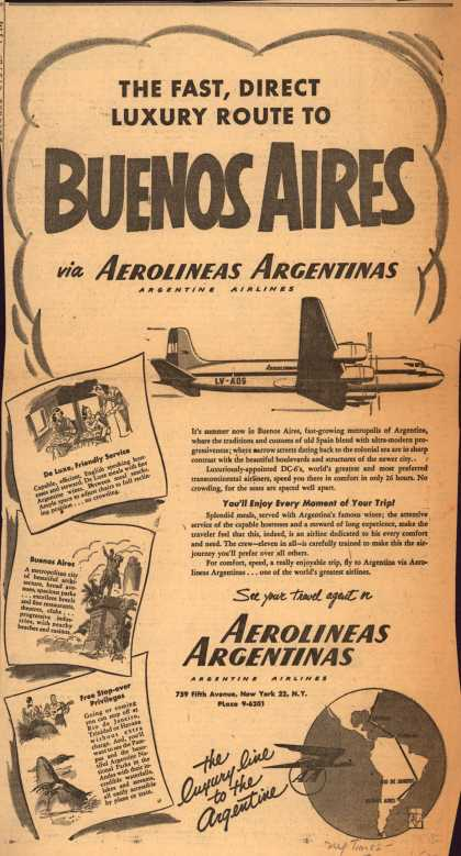 Aerolineas Argentina's Buenos Aires – The Fast, Direct Luxury Route to Buenos Aires (1952)