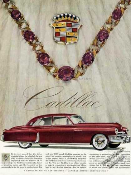 Cadillac Large Color Print Ad Jewels By Cartier (1949)