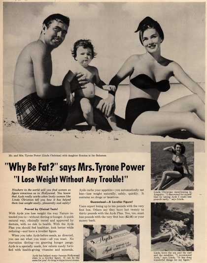 """Carlay Company, Incorporated's Ayds – """"Why Be Fat?"""" says Mrs. Tyrone Power """"I Lose weight Without Any Trouble!"""" (1954)"""
