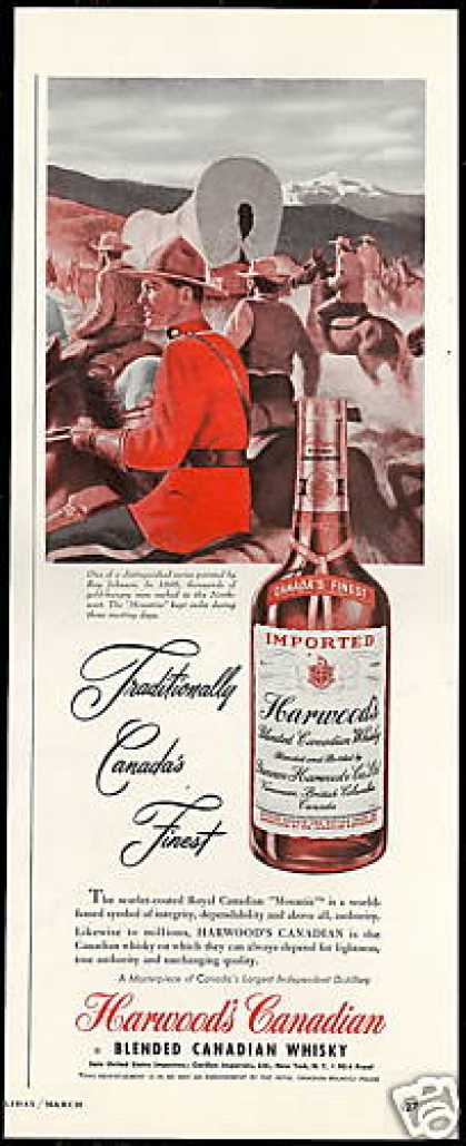 Harwood's Canadian Whisky RCMP 1898 Mounties (1949)