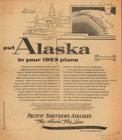 Pacific Northern Airline's Alaska – put Alaska in your 1953 plans (1953)
