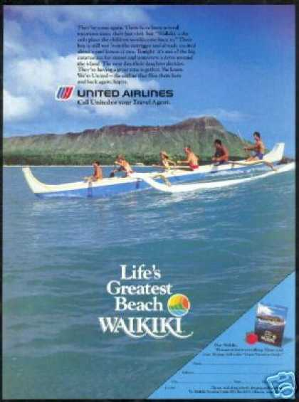 United Airlines Hawaii Outrigger Diamond Head (1985)