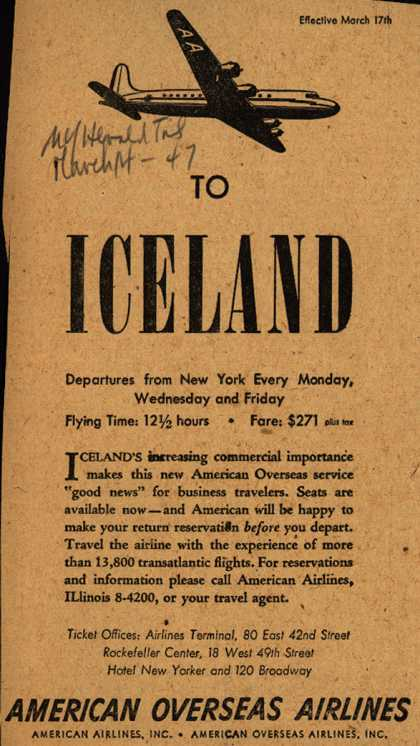 American Overseas Airline's Iceland – To Iceland (1947)