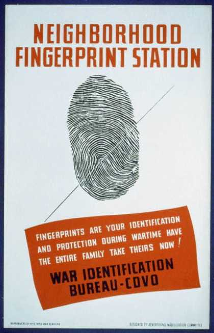 Neighborhood fingerprint station – Fingerprints are your identification and protection during wartime – have the entire family take theirs now! – W (1941)