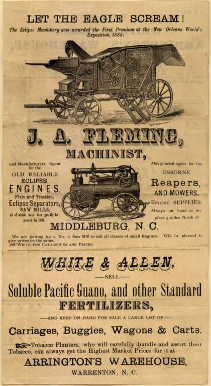 Arrington's Warehouse's reapers and mowers – Let the Eagle Scream (1886)