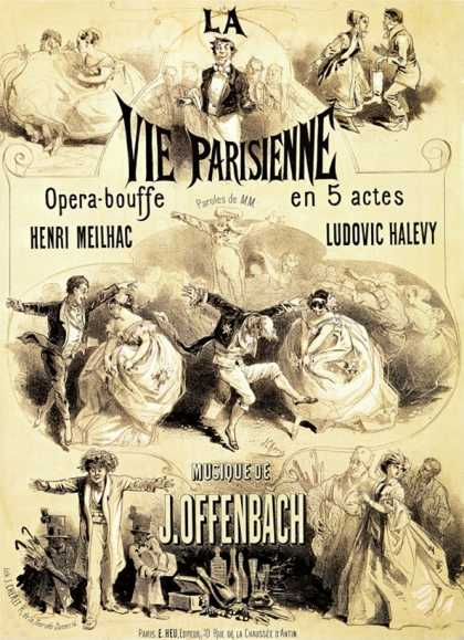 """Poster Advertising """"La Vie Parisienne,"""" an Operetta by Jacques Offenbach (1886)"""