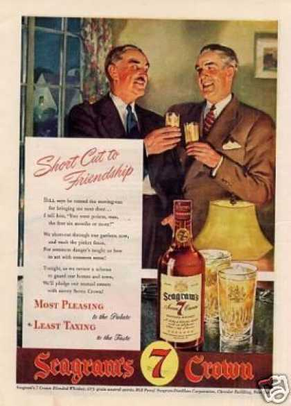 """Seagram's 7 Crown Whiskey Ad """"Short Cut To... (1943)"""