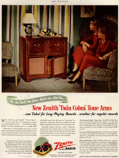 """Zenith Radio Corporation's """"Twin Cobra"""" model – For the Thrill No Other Radio Can Give You... New Zenith """"Twin Cobra"""" Tone Arms... (1949)"""