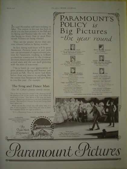 Movies Paramount Pictures Policy is Big pictures Harold Lloyd Greg Nissen thomas Meighan Gloria Swanson Adalphe Menjou Richard Dix (1926)