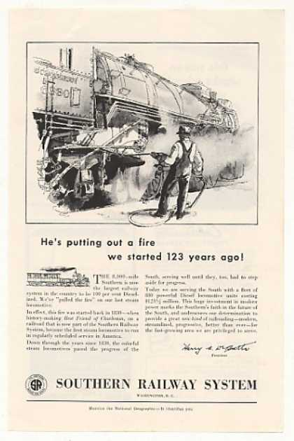 '53 Southern Railway System Put Out Fire Steam Train (1953)