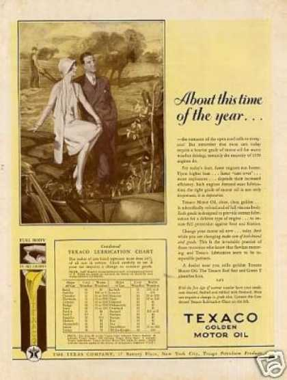 """Texaco Color Ad """"About This Time... (1928)"""
