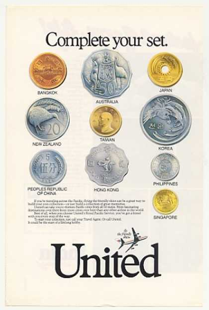 United Airlines World Coin Collection Photo (1986)
