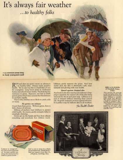 Lever Brothers Company's Lifebuoy Health Soap – It's always fair weather ...to healthy folks. (1925)