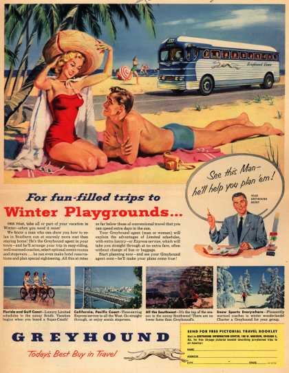 Greyhound's Winter Playgrounds – For fun-filled trips to Winter Playgrounds... (1952)