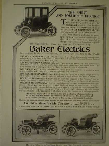 Baker Electric Cars AND Steinway and Son's Pianos (1910)