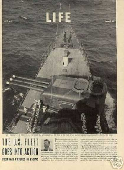 """""""The U.s. Fleet Goes Into Action""""~ 10 Page Article (1942)"""