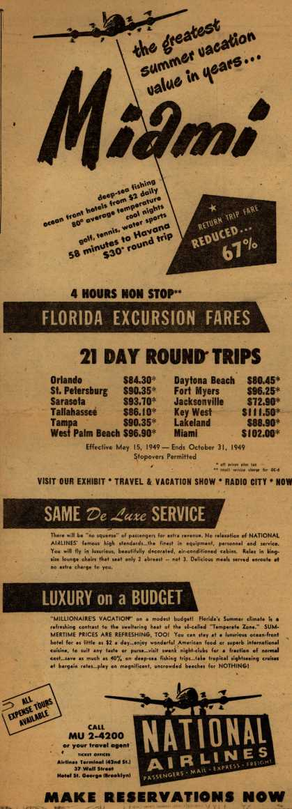 National Airline's Florida – the greatest summer vacation value in years... Miami (1949)
