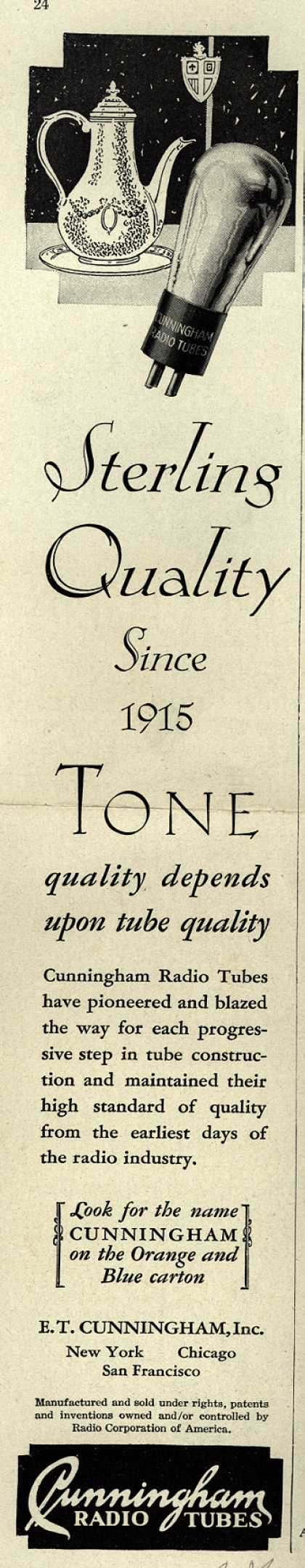 E.T. Cunningham's Radio Tubes – Sterling Quality Since 1915 (1928)