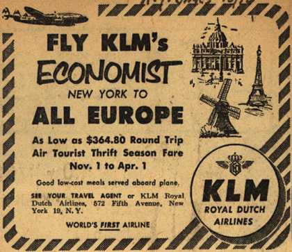 KLM Royal Dutch Airline's Europe – Fly KLM's Economist New York To All Europe (1952)