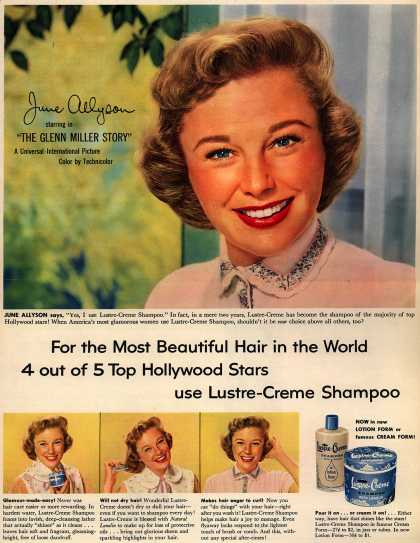 Kay Daumit's Lustre-Creme Shampoo – For the Most Beautiful Hair in the World 4 out of 5 Hollywood Stars use Lustre-Creme Shampoo (1954)