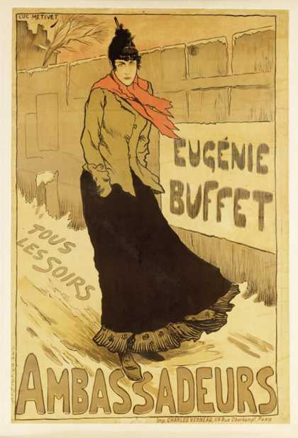 """Reproduction of a Poster Advertising """"Eugenie Buffet,"""" at the Ambassadeurs, Paris (1893)"""