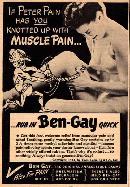 Thomas Leeming & Co.'s Ben-Gay – If Peter Pain has you knotted up wit muscle pain (1946)