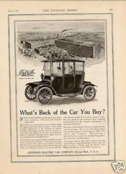 """Detroit Electric Car Ad """"What's Back of The... (1913)"""