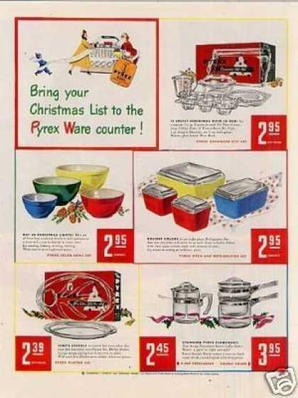 """Pyrex Ad """"Bring Your Christmas List... (1948)"""