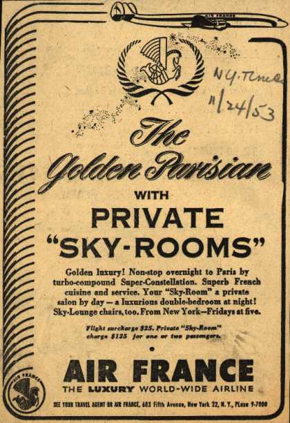 """Air France's Private """"Sky Rooms"""" – The Golden Parisian with Private """"Sky-Rooms"""" (1953)"""