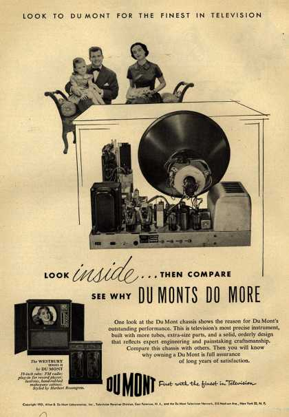 Allen B. Du Mont Laboratorie's Westbury Series II Television – Look inside... Then Compare See Why DuMonts Do More (1951)