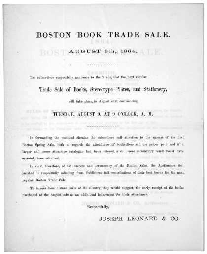 Boston book trade sale. August 9th, 1864 The subscriber respectfully announces to the trade, that the next regular trade sale of books, stereotype pla (1864)