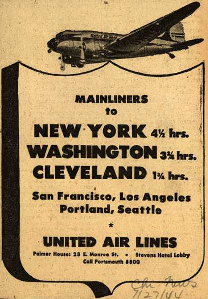 United Air Line's various destinations – Mainliners to New York, Washington, Cleveland (1944)