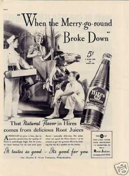 """Hires Root Beer Ad """"When the Merry-go-round. (1937)"""