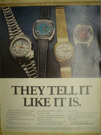 They tell it like it is. Accutron by Bulova Watches (1972)