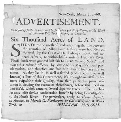 . To be sold by public vendue, on Thursday the 14th of April next, at the House of Abraham Post, Tavern Keeper, at Sagerties. Six thousan (1768)