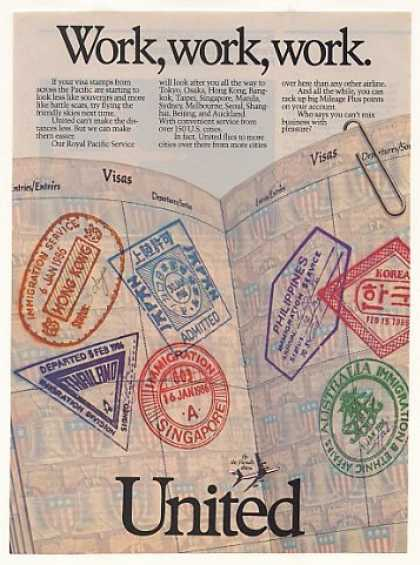 United Airlines Visa Stamps Pacific Work Work (1986)
