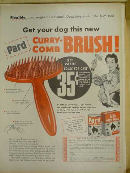 Pard Dog Food. Curry Comb Brush offer (1953)