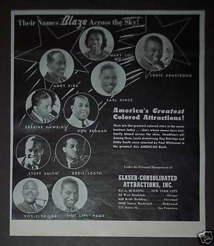 """Greatest """"Colored"""" Attractions Louis Armstrong (1939)"""