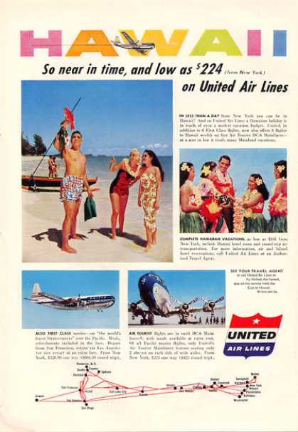 United Airlines Dc 6 Mainliner Hawaii Lei (1953)