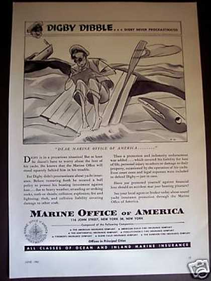 Digby Dibble Art Marine Office of America Ins Ad 1 (1951)