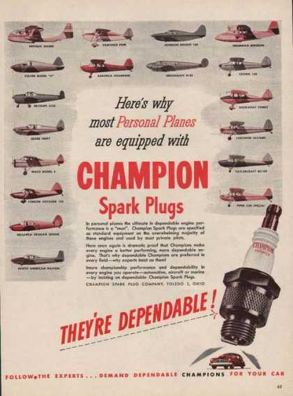 Personal Planes Equipped With Champion (1946)