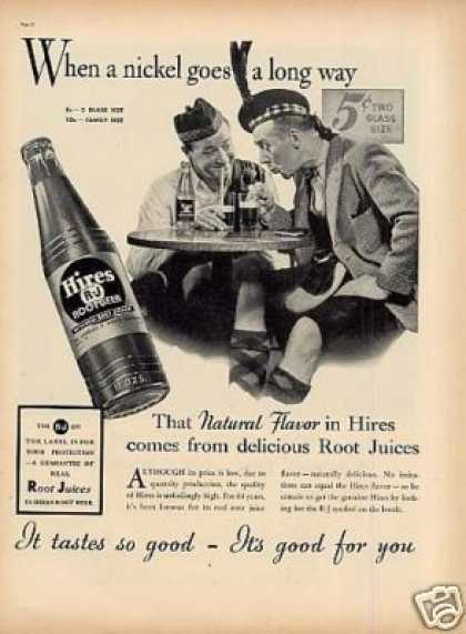 """Hires Root Beer Ad """"When a Nickel Goes... (1937)"""