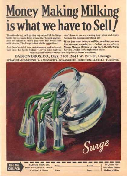 """Surge Milker's """"Money Making Milking is what we have to Sell!"""" (1946)"""